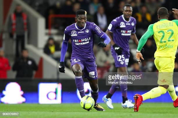 Ibrahim Sangar of Toulouse during the Ligue 1 match between Toulouse and Nantes at Stadium Municipal on January 17 2018 in Toulouse