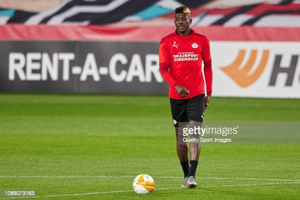 Ibrahim Sangare of PSV Eindhoven in action during training session ahead of the UEFA Europa League Group E stage match between PSV Eindhoven and...