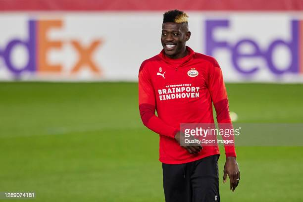Ibrahim Sangare of PSV Eindhoven looks on during training session ahead of the UEFA Europa League Group E stage match between PSV Eindhoven and...