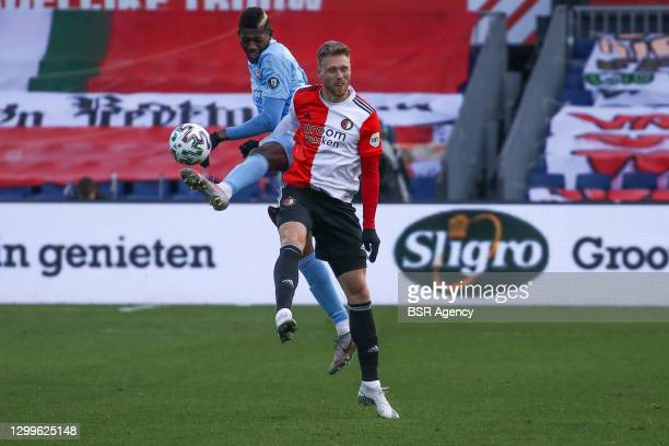 Ibrahim Sangare of PSV, Nicolai Jorgensen of Feyenoord during the Dutch Eredivisie match between Feyenoord and PSV at De Kuip on January 31, 2021 in...