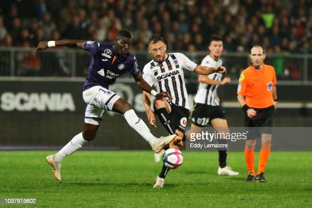 Ibrahim Sangare of Toulouse and Flavien Tait of Angers during the Ligue 1 match between Angers and Toulouse at Stade Jean Bouin on September 22 2018...