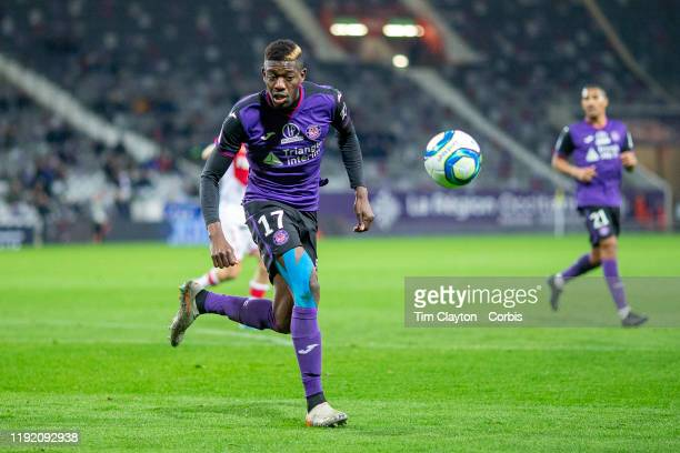December 04: Ibrahim Sangare of Toulouse in action during the Toulouse FC V AS Monaco, French Ligue 1 regular season match at the Stadium Municipal...