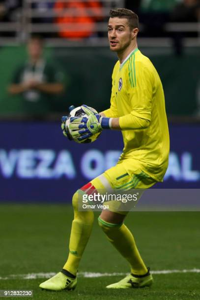 Ibrahim Sehic goalkeeper of Bosnia holds the ball during the friendly match between Mexico and Bosnia and Herzegovina at Alamodome Stadium on January...