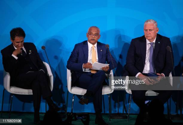 Ibrahim Solih Maldives' president center speaks during the United Nations Climate Action Summit in New York US on Monday Sept 23 2019 Heads of state...