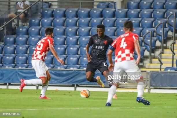 Ibrahim Traore of Slavia Praha controls the ball during the UEFA Europa League Group C stage match between Hapoel Be'er Sheva and Slavia Praha at Ha...