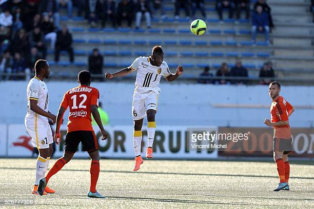 Ibrahima Amadou of Lille during the French Ligue 1 match between Fc Lorient and Lille OSC at Stade du Moustoir on April 30, 2016 in Lorient, France.