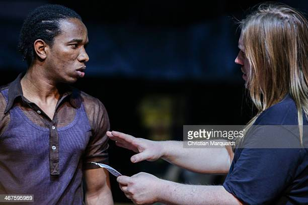 Ibrahima Balde and Christoph Franken perform on stage during rehearsals for 'Tee Im Harem Des Archimedes' at Deutsches Theater Berlin on February 07,...