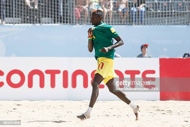 Ibrahima Balde celebrates scoring the his teams first goal of the game during the Group A FIFA Beach Soccer World Cup match between Argentina and...