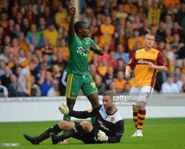 Ibrahima Balde of Kuban Krasnodar reacts to an incident in the Motherwell box during the UEFA Europa League third round qualifying first leg match...
