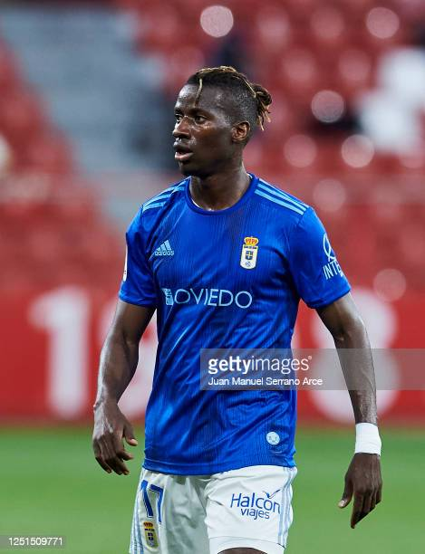 Ibrahima Balde of Real Oviedo reacts during the La Liga Smartbank match between Sporting de Gijon and Real Oviedo at El Molinon on June 22, 2020 in...