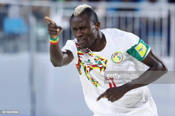 Ibrahima Balde of Senegal celebrates a goal during the FIFA Beach Soccer World Cup Bahamas 2017 group A match between Senegal and Bahamas at National...