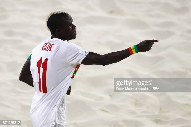 Ibrahima Balde of Senegal celebrates scoring a goal during the FIFA Beach Soccer World Cup Bahamas 2017 group A match between Senegal and Bahamas at...