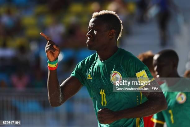 Ibrahima Balde of Senegal celebrates scoring a goal during the FIFA Beach Soccer World Cup Bahamas 2017 group A match between Switzerland and Senegal...