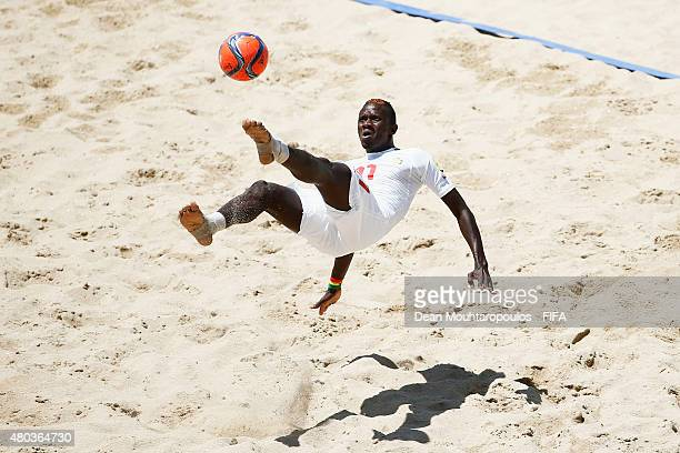 Ibrahima Balde of Senegal in action during the Group A FIFA Beach Soccer World Cup match between Senegal and Portugal held at Espinho Stadium on July...