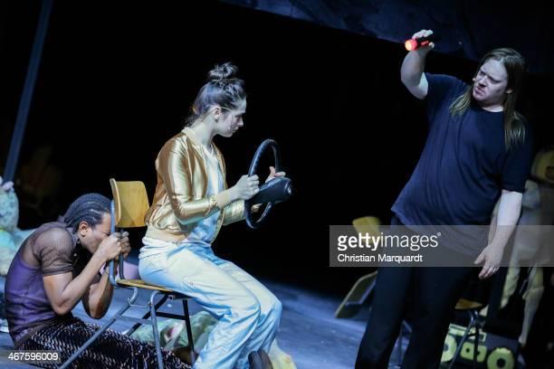 Ibrahima Balde, Sueheyla Uenlue and Christoph Franken perform on stage during rehearsals for 'Tee Im Harem Des Archimedes' at Deutsches Theater...