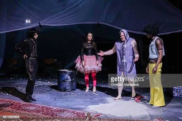 Ibrahima Balde, Sueheyla Uenlue , Christoph Franken and Marof Yaghoubi perform on stage during rehearsals for 'Tee Im Harem Des Archimedes' at...