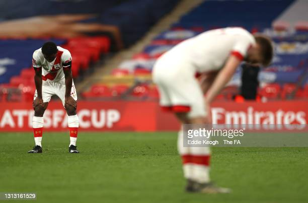 Ibrahima Diallo and Stuart Armstrong of Southampton look dejected after the Semi Final of the Emirates FA Cup between Leicester City and Southampton...