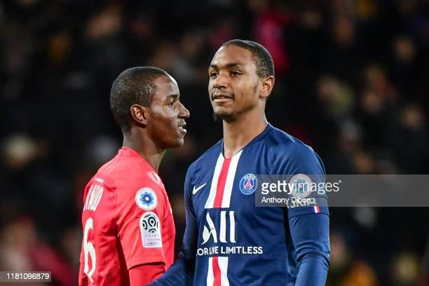 Ibrahima DIALLO of Brest and his brother Abdou DIALLO of PSG during the Ligue 1 match between Brest and Paris Saint Germain at Stade FrancisLe Ble on...
