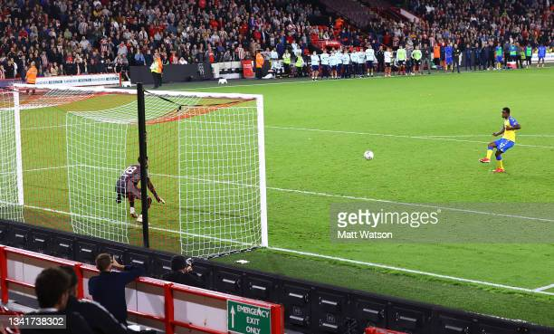 Ibrahima Diallo of Southampton scores his penalty during the Carabao Cup Third Round match between Sheffield United and Southampton at Bramall Lane...