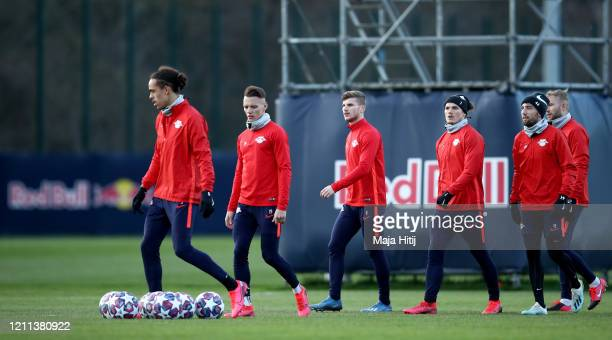 Ibrahima Konaté Hannes Wolf Timo Werner Marcel Sabitzer and Kevin Kampl of RB Leipzig in action during a training session at Red Bull Arena on March...