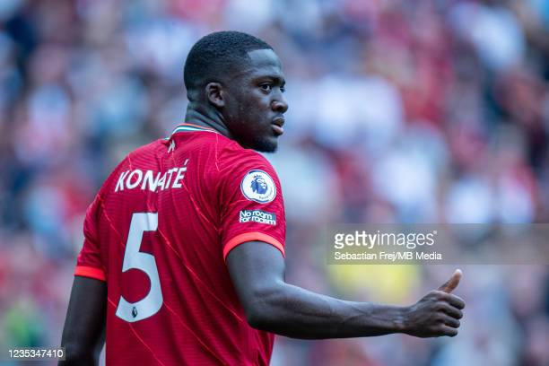 Ibrahima Konaté of Liverpool during the Premier League match between Liverpool and Crystal Palace at Anfield on September 18, 2021 in Liverpool,...