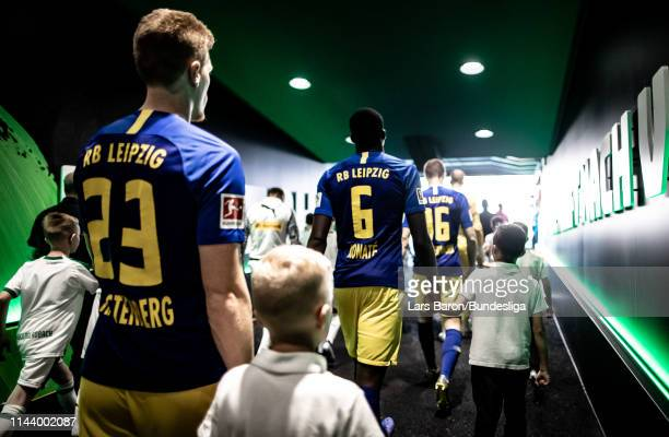 Ibrahima Konate of Leipzig is seen in the tunnel prior to the Bundesliga match between Borussia Mönchengladbach and RB Leipzig at BorussiaPark on...