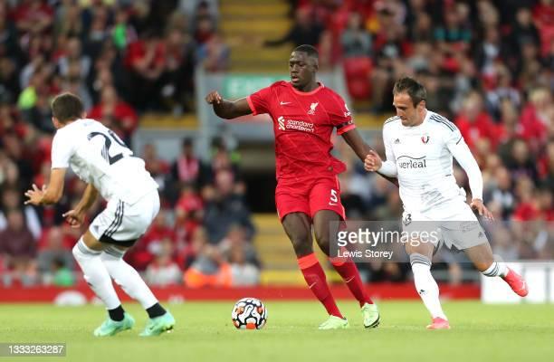 Ibrahima Konate of Liverpool battles for possession with Kike Garcia of Osasuna during the Pre-Season Friendly match between Liverpool and Osasuna at...