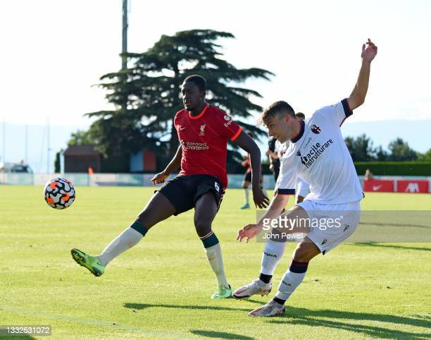Ibrahima Konate of Liverpool during the Pre Season match between Liverpool and Bologna on August 05, 2021 in Evian-les-Bains, France.