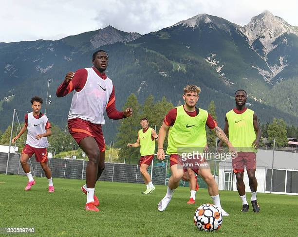 Ibrahima Konate of Liverpool with Harvey Elliott of Liverpool and Naby Keita of Liverpool during a training session on July 25, 2021 in UNSPECIFIED,...