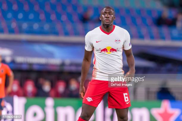 Ibrahima Konate of RasenBallsport Leipzig looks on during the UEFA Champions League Group H stage match between RB Leipzig and Istanbul Basaksehir at...