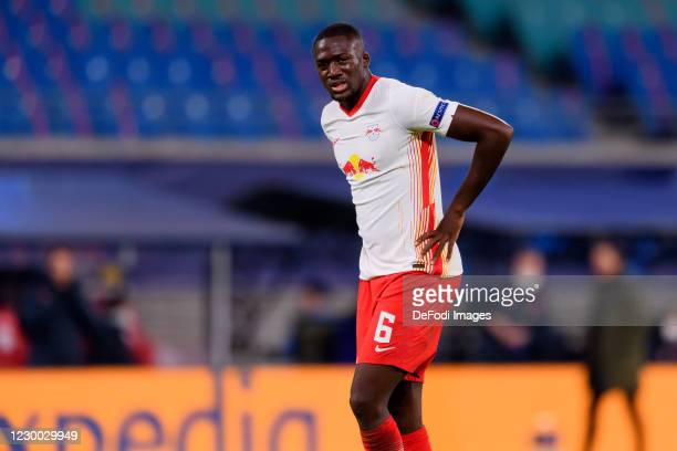 Ibrahima Konate of RasenBallsport Leipzig looks on during the UEFA Champions League Group H stage match between RB Leipzig and Manchester United at...