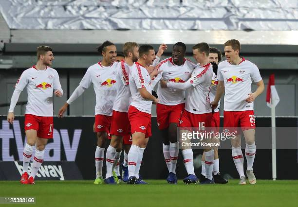 Ibrahima Konate of RB Leipzig celebrates after scoring his team's second goal with team mates during the Bundesliga match between Fortuna Duesseldorf...