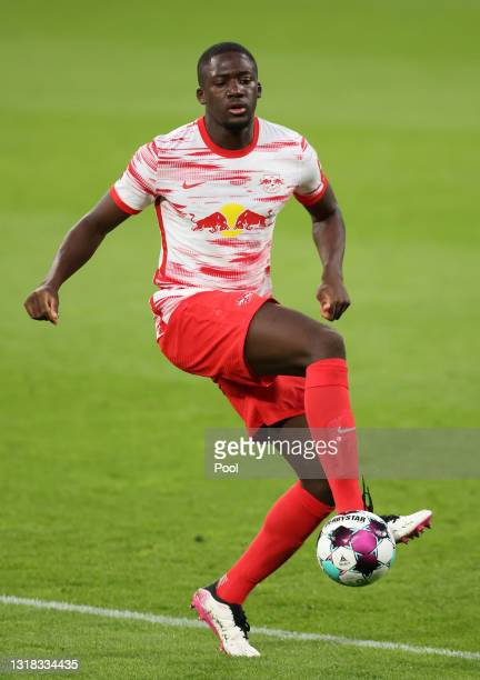 Ibrahima Konate of RB Leipzig controls the ball during the Bundesliga match between RB Leipzig and VfL Wolfsburg at Red Bull Arena on May 16, 2021 in...
