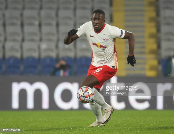 Ibrahima Konate of RB Leipzig controls the ball during the UEFA Champions League Group H stage match between Istanbul Basaksehir and RB Leipzig at...