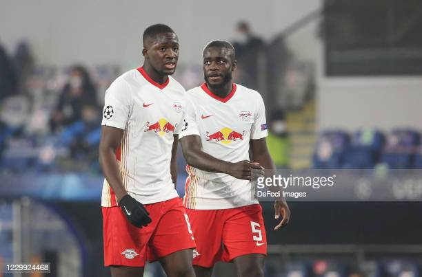 Ibrahima Konate of RB Leipzig , Dayot Upamecano of RB Leipzig look on during the UEFA Champions League Group H stage match between Istanbul...