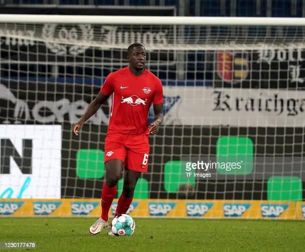 Ibrahima Konate of RB Leipzig during the Bundesliga match between TSG Hoffenheim and RB Leipzig at PreZero-Arena on December 16, 2020 in Sinsheim,...