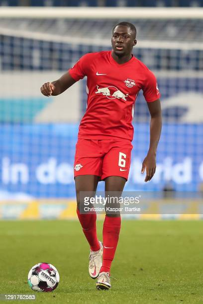 Ibrahima Konate of RB Leipzig in action during the Bundesliga match between TSG Hoffenheim and RB Leipzig at PreZero-Arena on December 16, 2020 in...