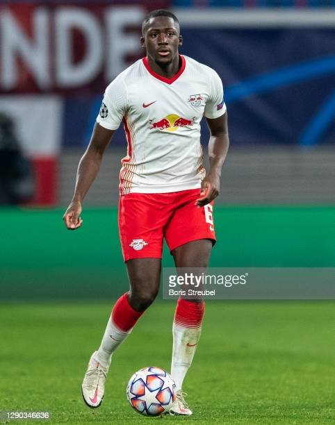 Ibrahima Konate of RB Leipzig runs with the ball during the UEFA Champions League Group H stage match between RB Leipzig and Manchester United at Red...