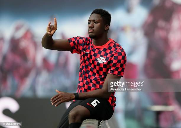 Ibrahima Konate of RB Leipzig watches the warm up ahead of the Bundesliga match between RB Leipzig and Fortuna Duesseldorf at Red Bull Arena on June...