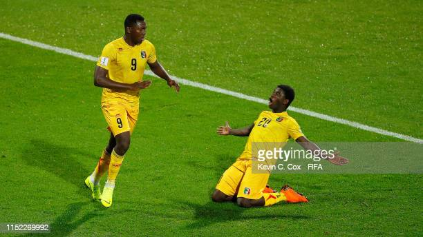Ibrahima Kone of Mali celebrates with his team mate Sekou Koita of Mali after scoring his team's second goal during the 2019 FIFA U20 World Cup group...