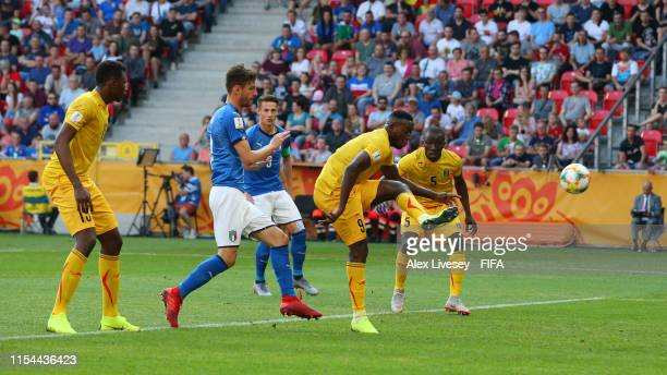 Ibrahima Kone of Mali scores an own during the 2019 FIFA U20 World Cup Quarter Final match between Italy and Mali at Tychy Stadium on June 07 2019 in...