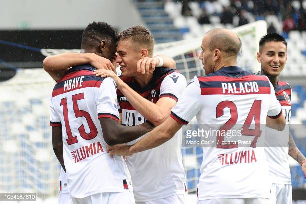 Ibrahima Mbaye of Bologna FC celebrates after scoring his team's second goal during the Serie A match between US Sassuolo and Bologna FC at Mapei...
