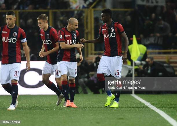 Ibrahima Mbaye of Bologna FC celebrates after scoring the opening goal during the Serie A match between Bologna FC and Atalanta BC at Stadio Renato...