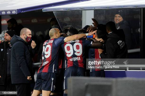 Ibrahima Mbaye of Bologna FC celebrates after scoring the opening goal during the Serie A match between Bologna FC and SS Lazio at Stadio Renato...