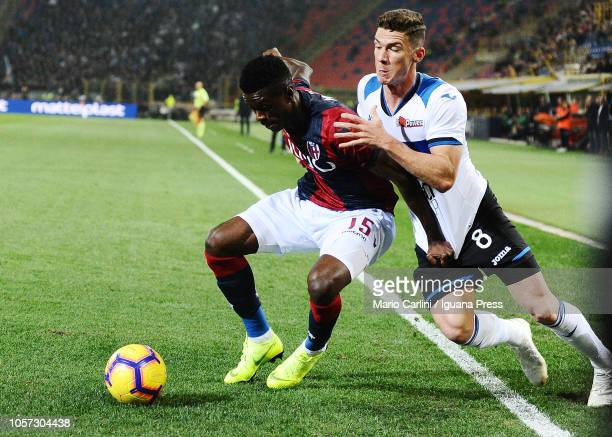 Ibrahima Mbaye of Bologna FC in action during the Serie A match between Bologna FC and Atalanta BC at Stadio Renato Dall'Ara on November 4 2018 in...