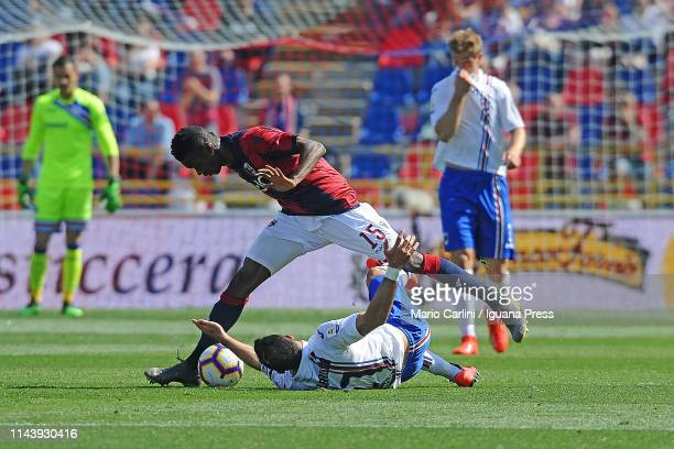 Ibrahima Mbaye of Bologna FC in action during the Serie A match between Bologna FC and UC Sampdoria at Stadio Renato Dall'Ara on April 20 2019 in...