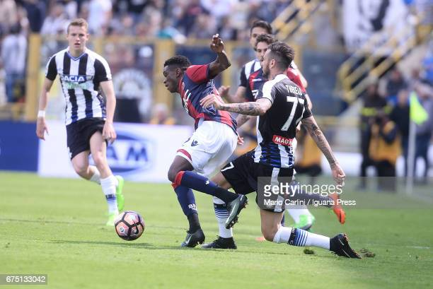 Ibrahima Mbaye of Bologna FC in action during the Serie A match between Bologna FC and Udinese Calcio at Stadio Renato Dall'Ara on April 30 2017 in...