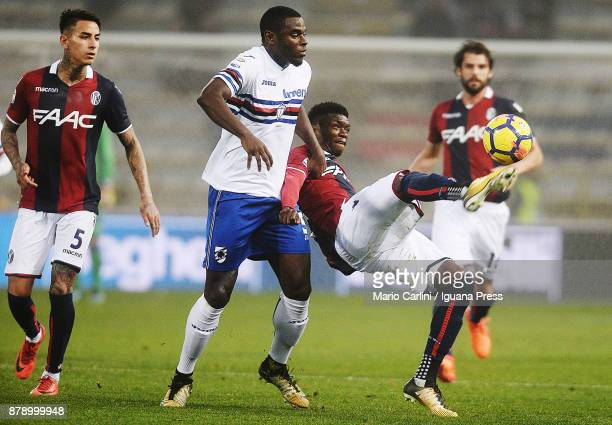 Ibrahima Mbaye of Bologna FC in action during the Serie A match between Bologna FC and UC Sampdoria at Stadio Renato Dall'Ara on November 25 2017 in...