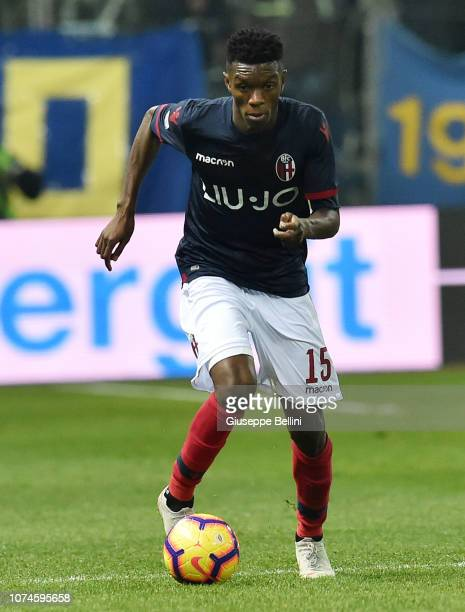 Ibrahima Mbaye of Bologna FC in action during the Serie A match between Parma Calcio and Bologna FC at Stadio Ennio Tardini on December 22 2018 in...