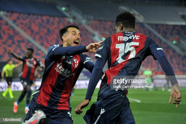Ibrahima Nbaye of Bologna FC celebrates after scoring the opening goal during the Serie A match between Bologna FC and SS Lazio at Stadio Renato...